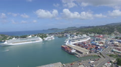 Pan of Caribbean islands harbor - St Lucia Stock Footage