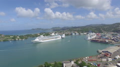 Panoramic of lake and town - St Lucia Stock Footage