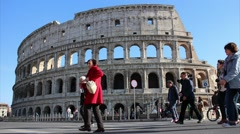 Colosseum and tourists - Illustrative editorial Stock Footage