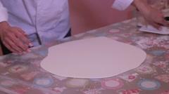 Flatten sugar dough for fondant cake top Stock Footage