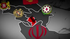 Nagorno Karabakh with neighboring countries Stock Footage