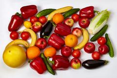 A lot of beautiful vegetables and fruit Stock Photos