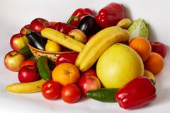 Many juicy vegetables and fruit Stock Photos