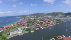 Panoramic view of bays in St Lucia Stock Footage