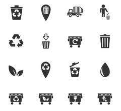 Stock Illustration of garbage icon set