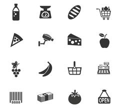 Grocery store icon set Stock Illustration