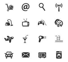 Hotel service icon set Stock Illustration
