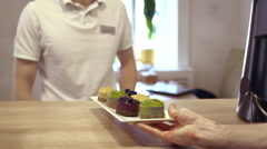 Waiter gets his order. Close up. Slow motion Stock Footage