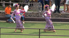 Thai Dancing - Zoom Out From Fan Dancers Stock Footage