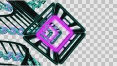 VJ Loop neon metal beats rollercoaster rotating camera 128 bpm outlined 720p - stock footage