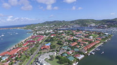 4K panoramic drone footage of bay in St Lucia Stock Footage