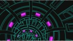 Vj Loop Neon Metal Tunnel 128 bpm outlined Stock Footage