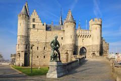 """National Maritime Museum at the castle """"Het Steen"""" in Antwerp, Belgium Stock Photos"""