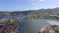 Panoramic views  of port town - St Lucia Stock Footage