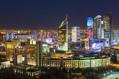 The city center and central business district at night, Astana, Kazakhstan, - stock photo