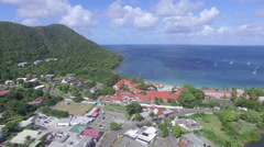 Panoramic of city and bay coastline - St Lucia Stock Footage
