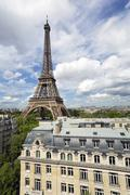 Elevated view over the city with the Eiffel Tower in the distance, Paris, Stock Photos