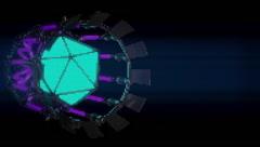 VJ Loop Neon Metal building structures Beat 128 bpm cam flight Stock Footage