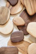 Smooth turned wooden objects Stock Photos
