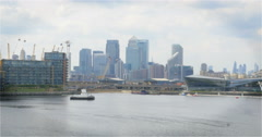 London Docklands and the City of London skyline - stock footage