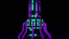 VJ Loop Neon Metal building structures Beat 128 bpm vertical move Stock Footage