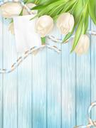 Bouquet of beautiful tulips. EPS 10 - stock illustration