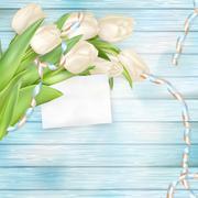 Bouquet of beautiful tulips. EPS 10 - stock illustration