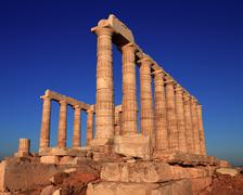 The ancient temple of Poseidon . Cape Sounion, Attica, Athens, G Stock Photos