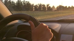 Drive. Close up of hands while driving in highway. Stock Footage