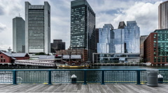 Walking long the harbour of the Atlantic in Boston, USA - stock footage