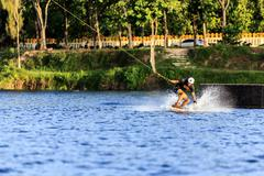Man Wakeboarding - stock photo