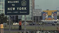 New York 1982: sign at the Niagara Falls Transportation Center Stock Footage