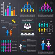 Vector infographic people icons collection Stock Illustration
