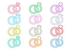 Wedding rings outline icons Stock Illustration