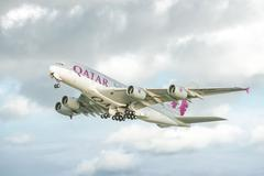 Qatar Airways Airbus A380 - stock photo