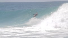 Pro Surfers at Snapper Rocks,Australia during Cyclone Winston swell Ungraded log Stock Footage