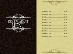 Restaurant food and drink menu Stock Illustration