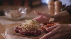 Eating steak on the chalkboard restaurant 3 Stock Footage
