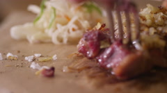 Eating steak on the chalkboard restaurant 2 Stock Footage