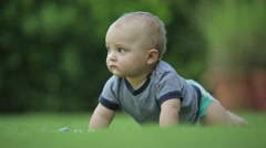 Baby crawlling towards camera. One year old baby learning to crawl Stock Footage