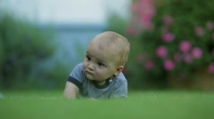 Baby enveloped in beautiful dreamy bokeh. One year old infant learning to crawl Stock Footage