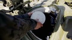 Tank crew reloading tank Stock Footage