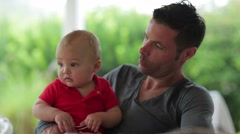 Dad and son together. Father with his infant newborn toddler Stock Footage