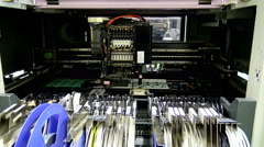 Robot machine for PCB manufacturing and application of microchips on the Board. Stock Footage