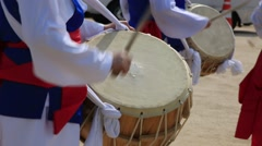 Performers playing traditional Korean music, the nongak Stock Footage