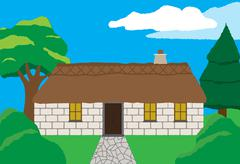 Cottage In Countryside - stock illustration