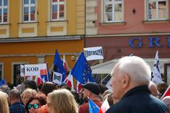 Committee for the Defence of Democracy supporters protesting in Wroclaw - stock photo