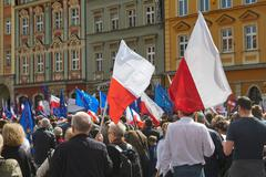Committee for the Defence of Democracy supporters protesting in Wroclaw Stock Photos