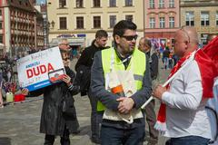 Stock Photo of Committee for the Defence of Democracy supporters protesting in Wroclaw