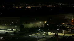 The Pentagon building at night in Washington DC Stock Footage